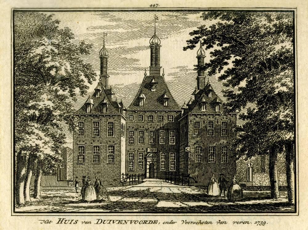 Kasteel Duivenvoorde in Voorschoten. Tekening Abraham de Haen, gravure Hendrik Spilman (Uit: Het Verheerlykt Nederland, Isaac Tirion, 1745/1774)